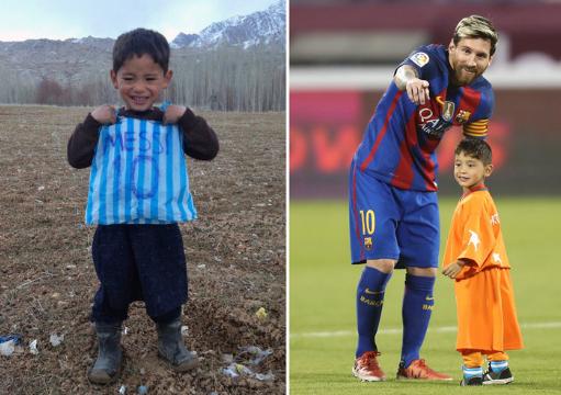 Детето што имаше дрес од Меси направен од кеси на удар на Талибанците (ФОТО)