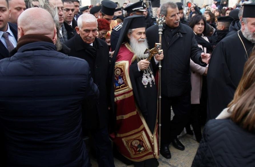 Палестински протести против службата на ерусалимскиот патријарх во Витлеем
