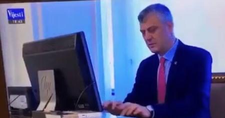 Хашим Тачи има јак пасворд на компјутерот: 1,2,3,4,5,6 (ВИДЕО)