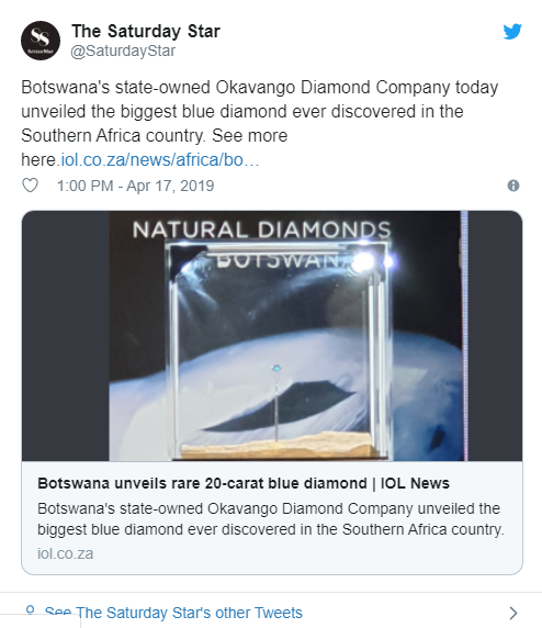 Најголемиот дијамант до сега пронајден во Боцвана(фото)