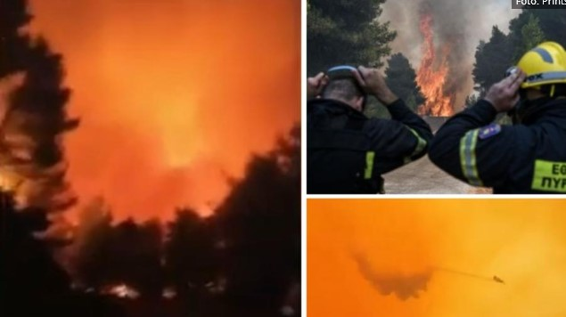 Грција пак гори: Мицотакис го прекина одморот, пожари на Тасос и Евија (ВИДЕО)