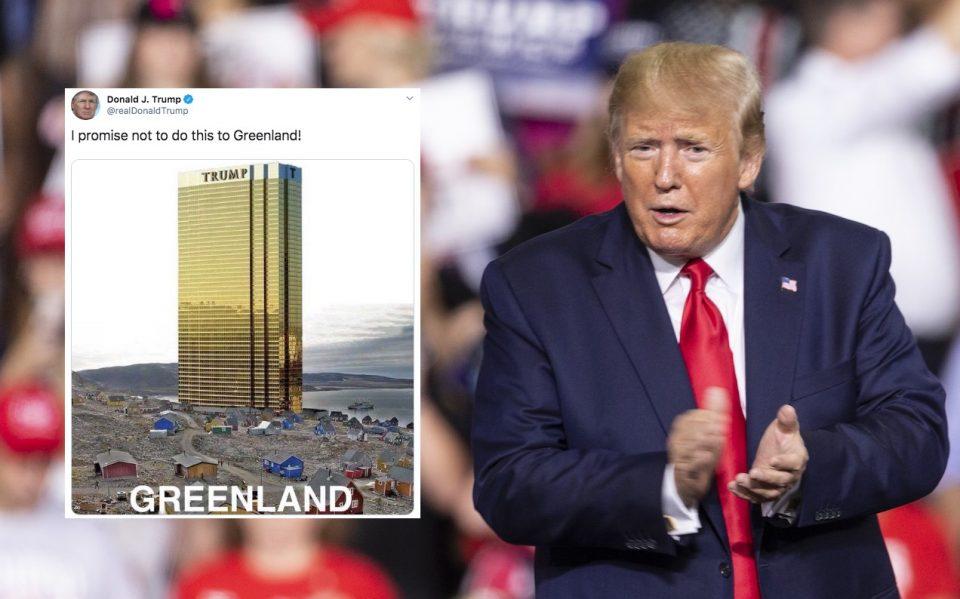 Трамп на твитер објави фотомонтажа со свој хотел на Гренланд (ФОТО)