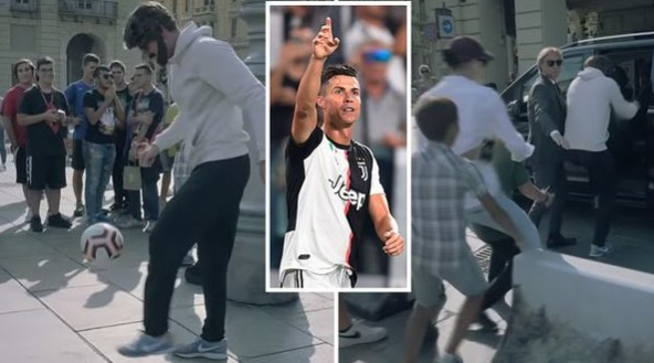 Брзо го препознаа: Роналдо со брада и коса жонглираше во центарот на Торино (ВИДЕО)