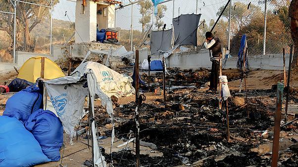 Тепачки во бегалскиот камп на Лезбос