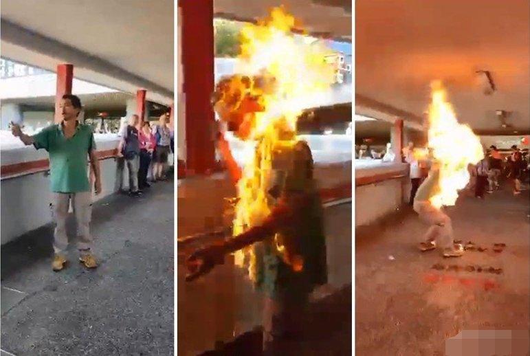 Демонстрантите во Хонг Конг жив запалија човек што им се спротивстави (ВИДЕО)