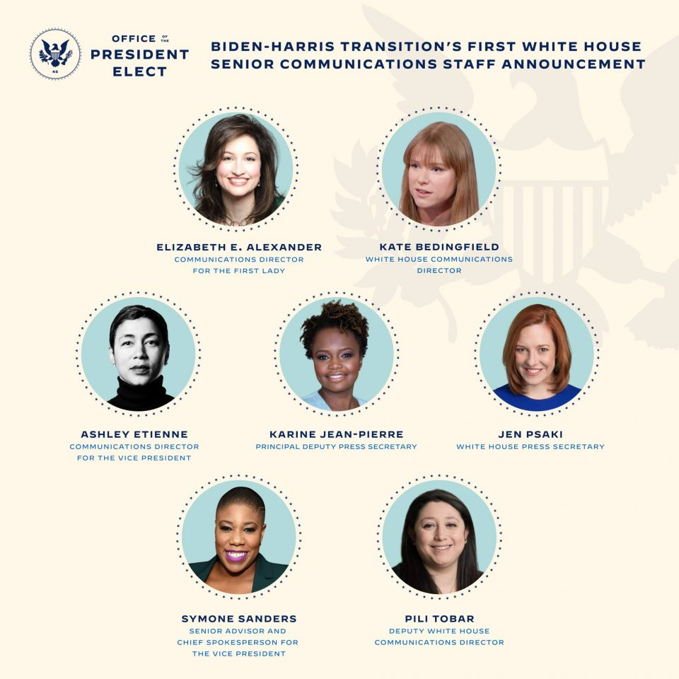 Тимот за комуникација на Бајден и Харис за првпат е составен само од жени