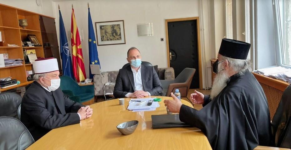 Филипче на средба со поглаварите на МПЦ и ИВЗ: Сите да придонесеме во битката со пандемијата