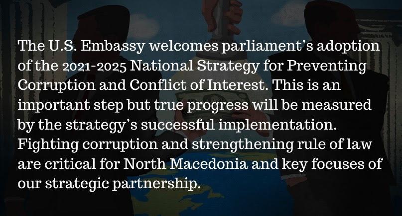 Амбасадата на САД го поздрави усвојувањето на Националната страгија за спречување на корупција и судир на интереси